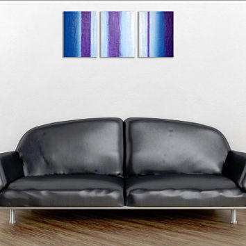"LARGE WALL ART triptych 3 panel wall contemporary art ""purple intention"" canvas original painting abstract canvas pop wall kunst 27 x 12"""