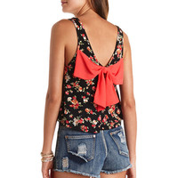 BOW-BACK FLORAL PRINT CROP TOP