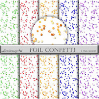 Foil and glitter hexagonal Confetti Overlay - colorful Confetti Clipart - Digital Confetti Glitter - Instant Download