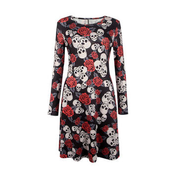 Elegant Women Bat And Moon Polyester Print Dress With Full Sleeve And O-neck For Halloween SM6