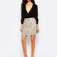 River Island Embellished Mini Skirt at asos.com