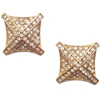 Jeweled Square and Criss-Cross Stud Earrings