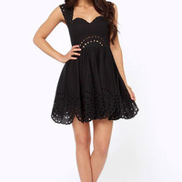 Southern Sweetheart Embroidered Black Dress