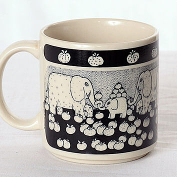 Vintage 70s Taylor and Ng Elephant Coffee Mug 1978 Blue Elephants and Pumpkins Ceramic Coffee Cup Primitive Graphic