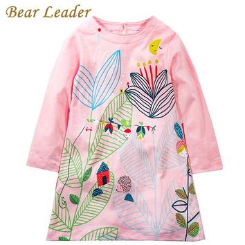 Girls Dress Girls Clothes Color Big Flowers Print Design Kids Dress