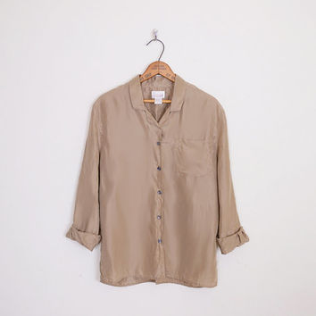 100% Silk Shirt Silk Blouse 80s Oversize Shirt Button Up Shirt Taupe Shirt Brown Shirt 80s Shirt 90s Shirt Blogger Style S Small M Medium