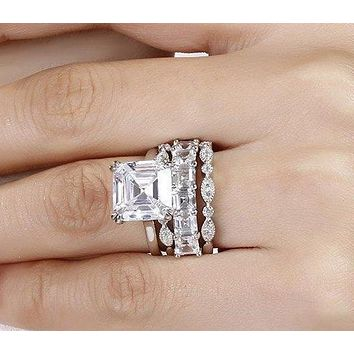 The Carmella, 4CT Asscher Cut and Emerald Cut Stackable Collection