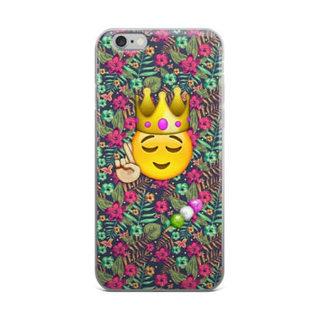 Colorful Floral Princess Crown Smiley Face Fingers Crossed Emoji Teen Cute Girly Girls iPhone 4 4s 5 5s 5C 6 6s 6 Plus 6s Plus 7 & 7 Plus Case