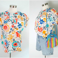 1980s Abstract Print Blouse Boxy Blousy Bold Bright Floral Top