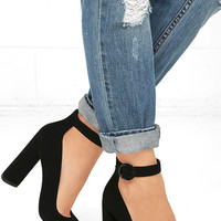 Kendall + Kylie Gloria Black Suede Leather Heels