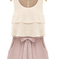 Layered Strap Belt Chiffon Rompers