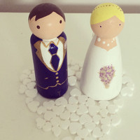 Wedding cake toppers, wooden peg people, Bride and Groom, personalised cake toppers