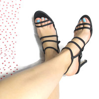 90s Strappy Black Heels Minimalist Cut Out Sandals Multi Strap Elastic Ankle Heels Party Stiletto Sandals (7.5)