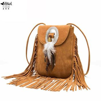 Vintage Bohemian Fringe Messenger Crossbody Bag Purse Women Tassel Boho