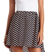 High-Low Chevron Skater Skirt