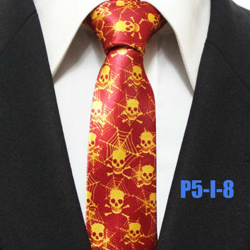 NEW 5CM Designer Ties Top Personality Polyester Printed Necktie for Party Halloween Skulls with Spider Pattern