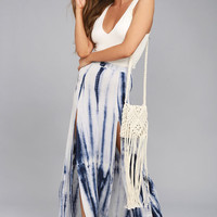 Shore to Adore Blue Tie-Dye Maxi Skirt