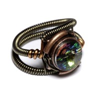 Steampunk Jewelry RING Vitrail Svarovski by CatherinetteRings
