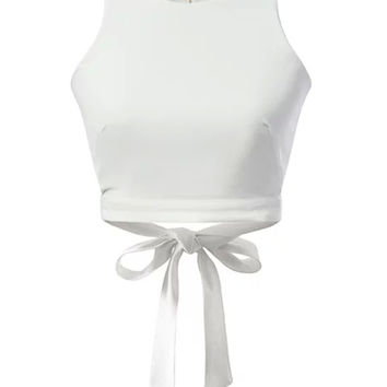 White Bow Tie Back Cut Out Crop Top