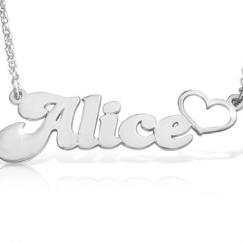 Silver Name Tag Necklace With Heart Unique Gift Name Necklace Name Chain Silver Name Necklace Pendant silver nameplate namenecklace Silver