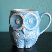 Ceramic Owl mug in blue