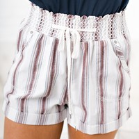 Love Daze Striped Shorts (Off White)