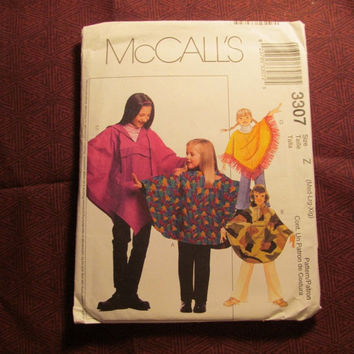 SALE Uncut McCall's Sewing Pattern, 3307! Medium/Lrg/XL/Kids/Girls/Child/Poncho/Pull-On Pants/Shawl Sweater/Overthrow/Hooded Jacket/Rain Coa