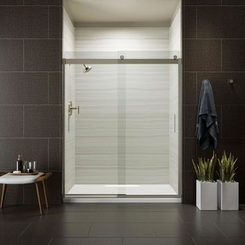 KOHLER Levity 59 in. x 74 in. Semi-Frameless Sliding Shower Door in Nickel with Handle-K-706009-L-MX - The Home Depot