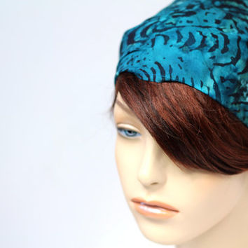 Turquoise Teal Wave Batik Headband Fabric Headband Gypsy Headband Dread Wrap Womens Headband Bandana Hair Accessories Womens Gift for Her
