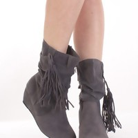Grey Faux Suede Fringe Detail Closed Toe Ankle Boots