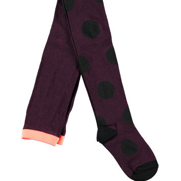 Polka-Dot Tights, Black Grape, Size 9M-12, Size: