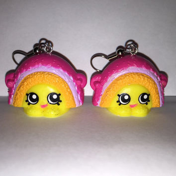 Shopkins Foodie Earrings - Rainbow Bite - repurposed toys