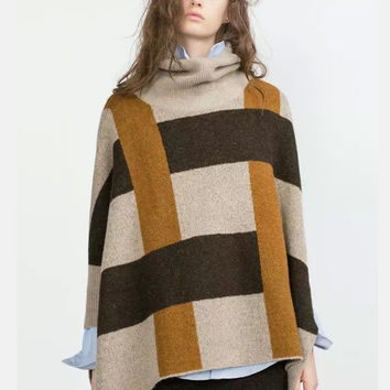 WomenTurtleneck knitted Poncho Sweaters plaid Mohair three quarter sleeve split cape pullovers Vogue Boutique Apparel