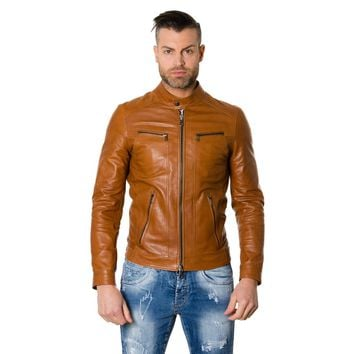 Men's Genuine Tan Leather Jacket Vintage Biker Style