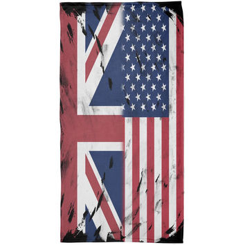 British UK American USA Flag All Over Beach Towel