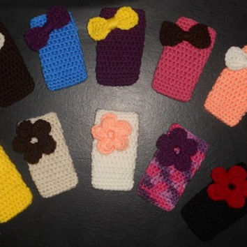 Crochet iPhone/iPod Cell Phone Case/Cozy with Bow or Flower