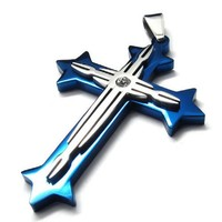 """22"""" KONOV Blue Silver Stainless Steel Necklace Cross Mens Womens Pendant - 22 inch Chain"""