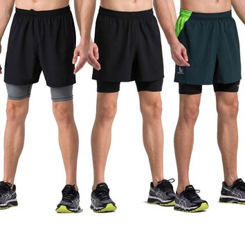 Willarde Men's 2 In 1 Training Woven Shorts With Compression Lining Running Fitness Yoga Workout
