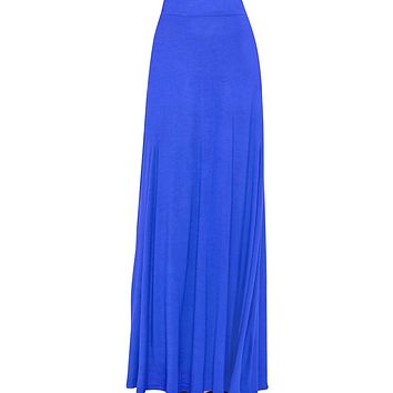 Women's Royal Blue Maxi Skirt With Fringes