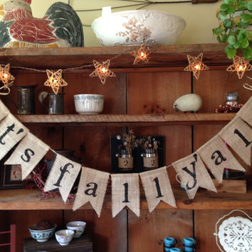 Fall Burlap Bunting, It's Fall Y'all Bunting, Autumn Garland, Burlap Banner, Autumn Bunting, Fall Bunting, Autumn Wedding Decor