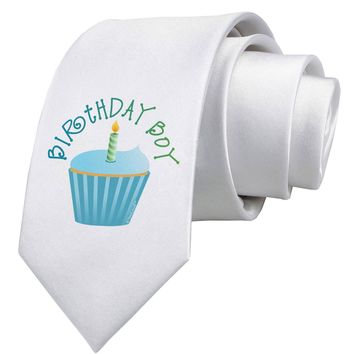 Birthday Boy - Candle Cupcake Printed White Neck Tie by TooLoud