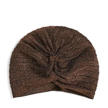 Metallic Knot-Front Hat