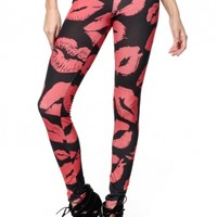 Kissable Red Hot Lips Leggings @ Cicihot Pants Online Store: sexy pants,sexy club wear,women's leather pants, hot pants,tight pants,sweat pants,black pants,baggy pants
