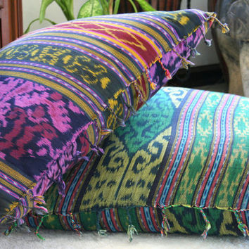 Berry Ikat Pillows, 30 Inch Floor Pillows Or 16 Inch Throw Pillows Hand Woven Boho Pillows, Ethnic Cushions