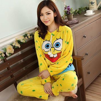 2017 women ladies Winter Thick Warm soft Flannel spongebob pajamas suit Female Cartoon hellio kitty night home sleepwear
