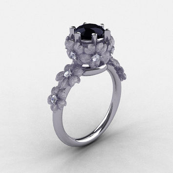 18K White Gold Black and White Diamond Flower Wedding Ring, Engagement Ring NN109S-18KWGDBD