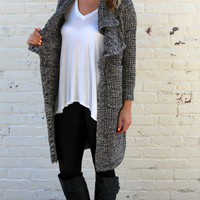 Textured Duster Length Cozy Knit Cardigan Coat - Black/White