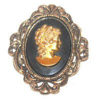Vintage Cameo Brooch, Black Lucite, Gold Metal Vintage Brooch, Antique Alchemy