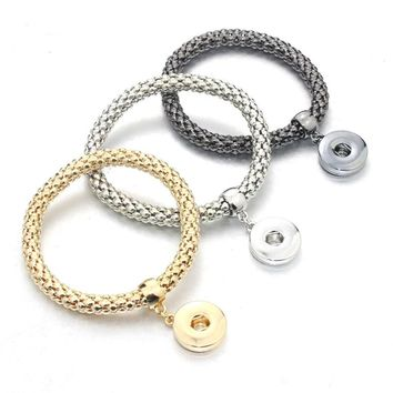 10 PCS/Lot 3 colors Vintage Twist chain Bangles for men metal snaps Bracelets fit 18MM snaps buttons Bracelets for women 0224