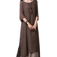 Coffee Colored Hem Layered Maxi Dress